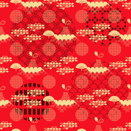 Illustration pour Beautiful japanese seamless  pattern with asian elements and flowers. Vector unique seamless asian texture.For printing on packaging, textiles, paper,  manufacturing, wallpapers,bags, scrapbooking. - image libre de droit