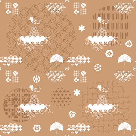 Beautiful Japanese seamless pattern with Asian elements and flowers vector unique seamless Asian texture. For printing on packaging, textiles, paper, manufacturing, wallpapers, bags, scrapbook.