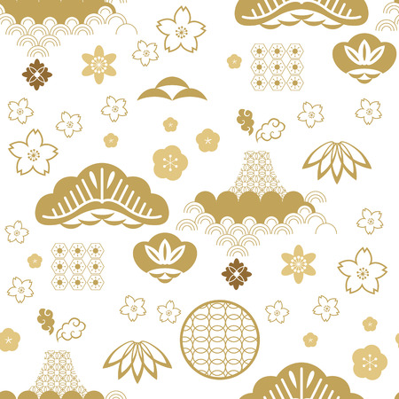 Illustration pour Beautiful japanese seamless pattern with clouds, waves. Japanese, chinese elements. Vector seamless asian texture. For printing on packaging, textiles, paper,fabric,  manufacturing, wallpapers. - image libre de droit