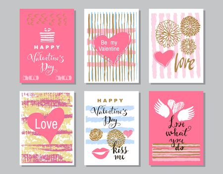 Illustration pour Happy Valentine's Day set cards. Handdrawn romantic lettering. Holiday  design, greeting cards, love  concept, gift card, wedding invitation. Valentines Day  background. Vector illustration. - image libre de droit
