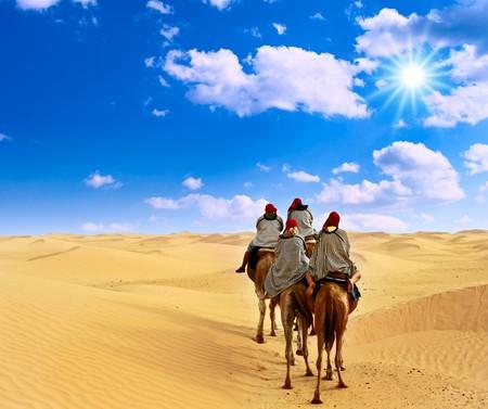 Camel caravan going through desert.