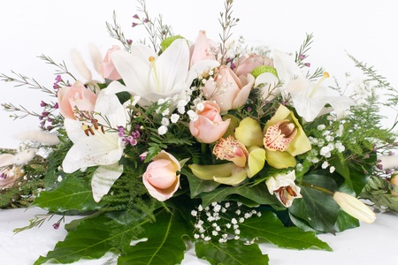 Flower bouquet against white background.