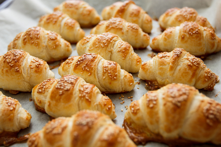 Fresh Baked Croissant,Homemade pastry with sesame.
