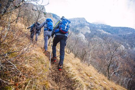 Photo for Trekking Group People Outdoor Nature Healthy Activity Mountain Hiking - Royalty Free Image