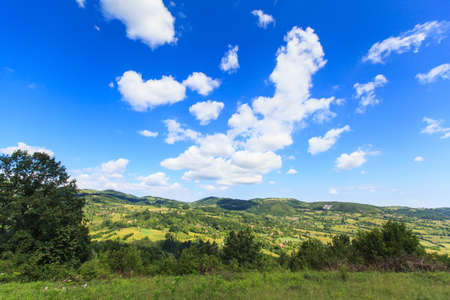 Photo for Beautiful nature landscape view, summer day, fresh air, amazing blue sky with clouds. - Royalty Free Image