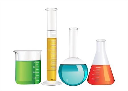 Laboratory glassware isolated over white background