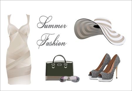 Illustration pour collection of summer clothes - image libre de droit