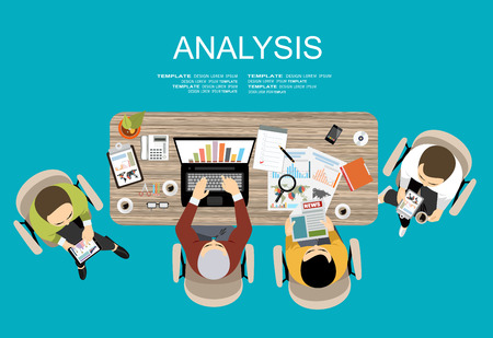 Illustration pour Flat design illustration concepts for business analysis and planning, financial strategy, consulting, project management and development. Concept to building successful business - image libre de droit