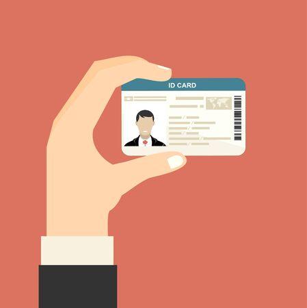 Illustration pour Illustration of hand holding the id card. Vector illustration flat design. - image libre de droit