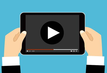Illustration for Hands holding tablet with video player on screen. Vector flat illustration. - Royalty Free Image