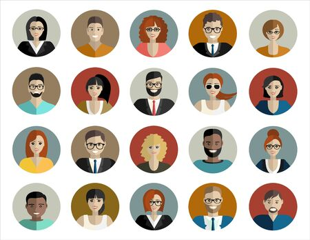 Illustration for People face, avatar icon, cartoon. Male and female. illustration in flat style - Royalty Free Image