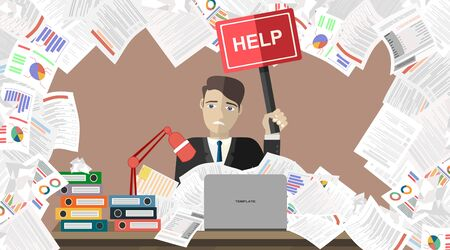 Illustration for Businessman with pile of paper, business concept. Flat vector illustration. - Royalty Free Image