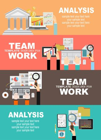 Illustration for Set of flat design illustration concepts for business, finance, team work, consulting, management, analysis, career, employment agency, staff training, money, technology, startup, creative. - Royalty Free Image