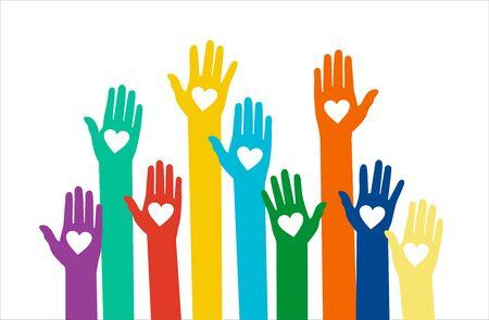 Illustration pour Hands with hearts. Raised hands volunteering vector concept - image libre de droit
