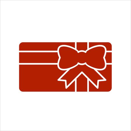 Illustration pour Gift card icon. Present card with ribbon and bow. Solid icon. Special offer sign, promo card. - image libre de droit