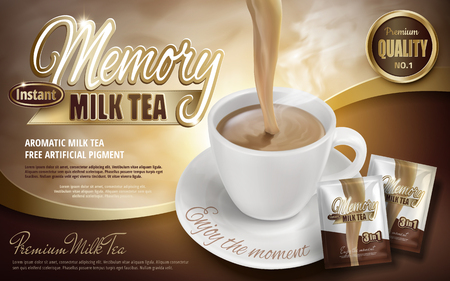Illustration pour Milk tea pouring down in cup with product packages, 3d illustration - image libre de droit