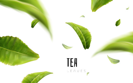 Illustration for Vividly flying green tea leaves, white background 3d illustration - Royalty Free Image