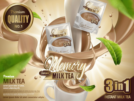 Illustration pour Milk tea instant drink ad, with milk tea special effects and minimized cup, with flying tea leaf elements, 3d illustration - image libre de droit