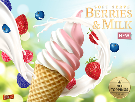 Illustration pour Berries and milk soft serve ads, refreshing fruit ice cream ads template with flowing milk and fruits isolated on bokeh background in 3d illustration - image libre de droit