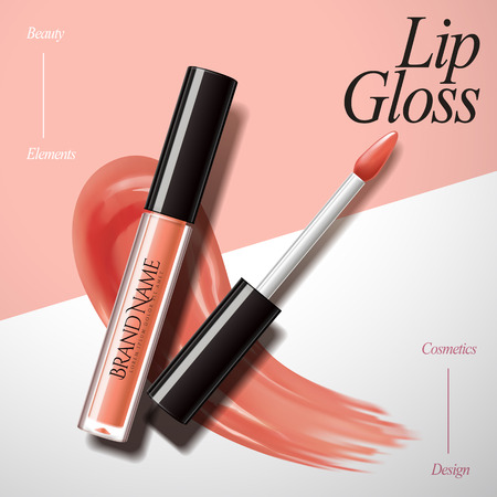Illustration pour Charming lip gloss design elements, product with smear texture isolated on geometric background in 3d illustration, peach color - image libre de droit