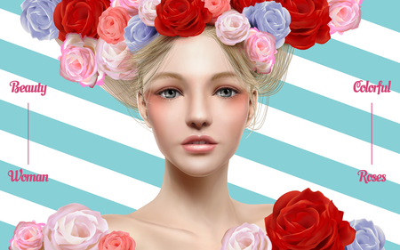 Trendy cosmetic model with perfect makeup and floral decorated hair in 3d illustration, stripe background