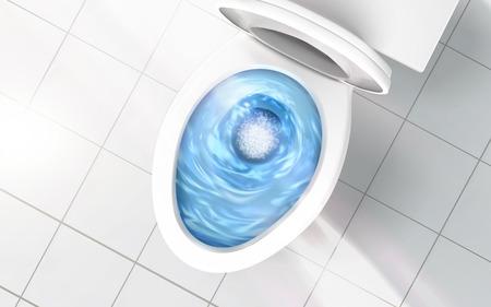 Illustration pour Top view of toilet bowl, blue detergent flushing in it, 3d illustration - image libre de droit