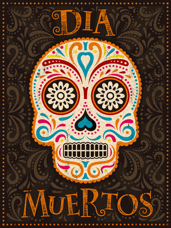 Illustration pour Day of the Dead poster, colorful painted skull with floral pattern, dia muertos is holiday's name in Spanish - image libre de droit
