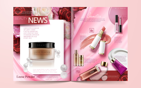 Illustration pour Fashion magazine template, hot sale makeup products isolated on floral pink background in 3d illustration - image libre de droit
