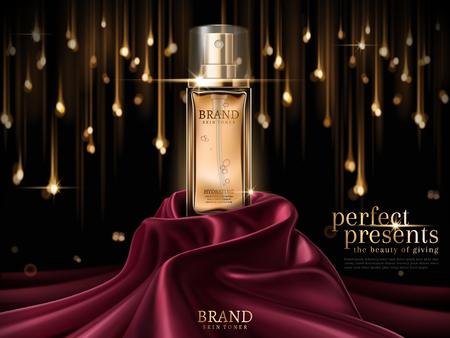 Illustration pour Luxury skin toner ads, premium glass bottle or perfume on scarlet satin isolated on bokeh light bulb background in 3d illustration - image libre de droit
