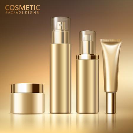 Ilustración de Cosmetic package design set, blank cosmetic containers mockup for design uses in golden color tone, 3d illustration - Imagen libre de derechos