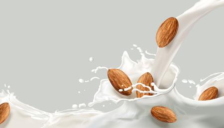 Vektor für Milk splashing effect, milk pouring down with almond in 3d illustration for design uses - Lizenzfreies Bild