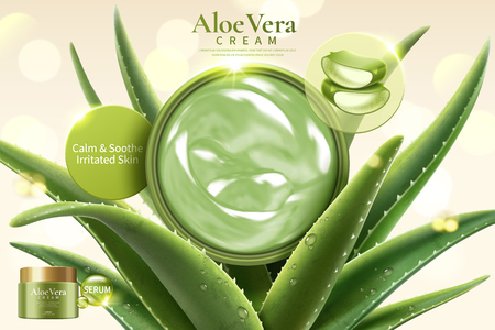 Ilustración de Aloe Vera cream on refreshing succulent leaves on glitter bokeh background in 3d illustration - Imagen libre de derechos