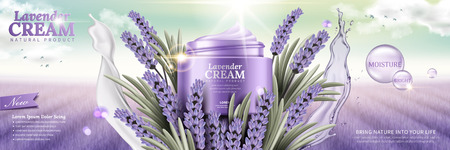 Illustration pour Lavender cream with flowers and splashing liquids leaves on purple field background in 3d illustration - image libre de droit