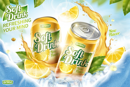 Illustration pour Cool soft drink ad with ice cubes and splashing juice in 3d illustration, green leaves and ice cave background - image libre de droit