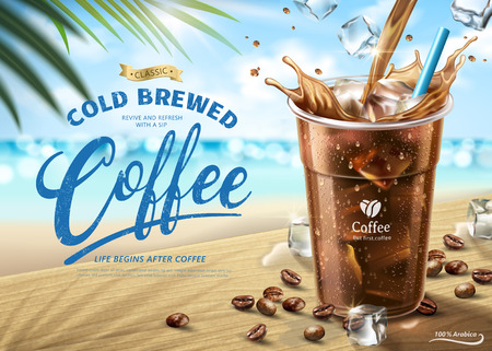 Illustration pour Cold brewed coffee ads on hot summer beach scene in 3d illustration - image libre de droit