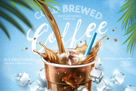 Illustration pour Cold brewed coffee pouring down from top into takeaway cup with ice cubes on light blue background in 3d illustration - image libre de droit