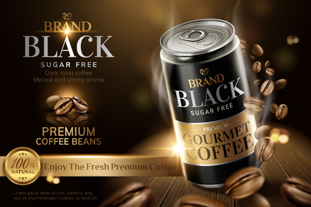 Illustration pour Premium black canned coffee with beans swirling around it in 3d illustration, wooden table and bokeh background - image libre de droit