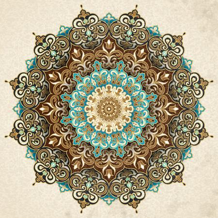 Photo pour Exquisite arabesque pattern in brown and turquoise tone - image libre de droit
