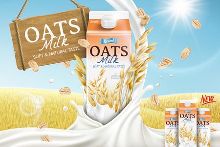 Vektor für Oats milk ads with carton container and mellow milk pouring down in 3d illustration, golden grain field background - Lizenzfreies Bild