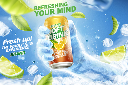 Illustration pour Refreshing soft drink ads with ice hand grabbing beverage can in 3d illustration, flying lemons, green leaves and ice cubes - image libre de droit