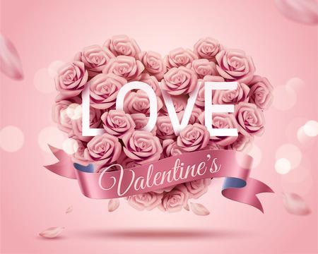 Illustration pour Romantic Valentine's Day template with paper rose heart shape bouquet in 3d illustration - image libre de droit