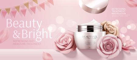 Ilustración de Romantic cosmetic cream banner ads with paper roses on bokeh pink background in 3d illustration - Imagen libre de derechos