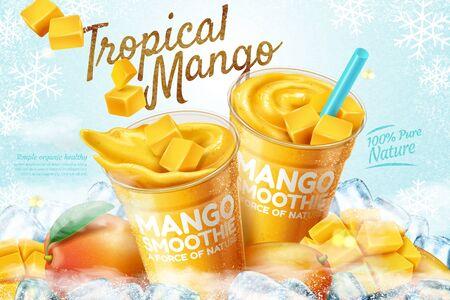 Illustration pour Mango frozen smoothie ads with fresh fruit and ice cubes in 3d illustration - image libre de droit