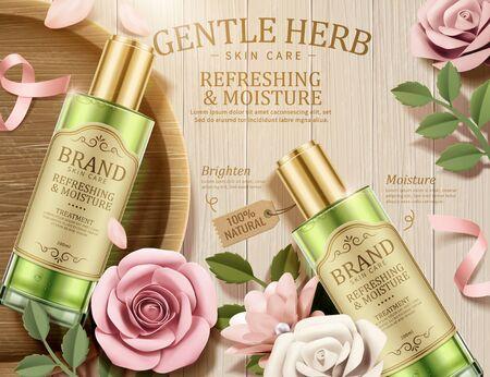 Illustration pour Gentle herb toner ads with paper flowers on wooden table in 3d illustration, top view - image libre de droit
