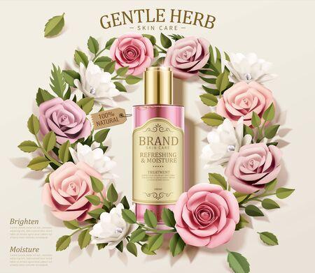Illustration pour Gentle herb toner ads with paper flowers wreath in 3d illustration - image libre de droit