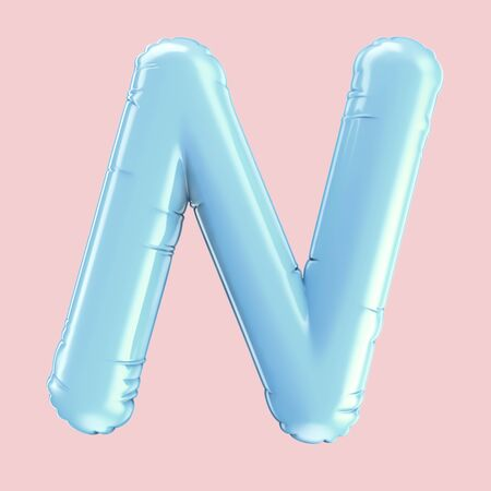 Baby blue balloon letter N isolated on pink background, 3d rendering