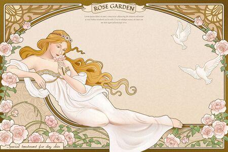 Illustration pour Elegant art nouveau style goddess lying nearby roses garden with elaborated frame - image libre de droit