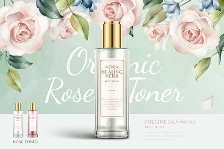Illustration pour Romantic rose toner ads with beautiful watercolor roses background in 3d illustration, turquoise and pink color - image libre de droit