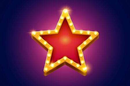 Illustration for Retro marquee light red star decoration with yellow frame glowing on purple background, broadway style - Royalty Free Image