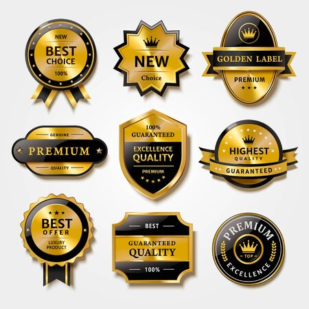 Illustration pour Useful collection of badges and labels in metal texture design, for premium product packaging, isolated on white background - image libre de droit